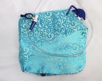 Turquoise Satin Brocade Cloth Catheter Bag Cover 2000 mL Urine Drainage 10 by 9""