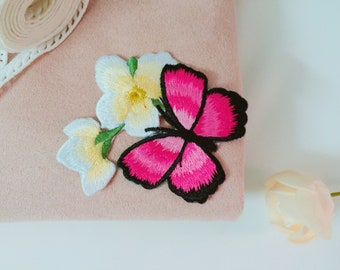 pink butterfly patch/high-quality/flower patch/iron on patch/embroidered patch /for jakcet