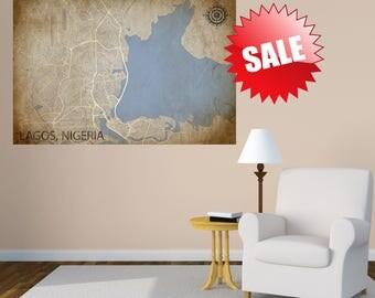 LAGOS canvas Map, Nigeria Poster, Lagos Print, Lagos Nigeria Poster, Lagos Wall Art, Lagos Poster, Lagos Gift, Lagos Decor, Lagos Africa Map