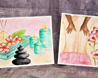 Couple of watercolor paintings for wellness centres-beauty centres-watercolors for holistic center-massage-candles-Zen Centre