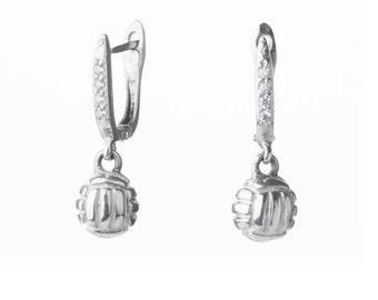 Sterling silver volleyball 3d earrings