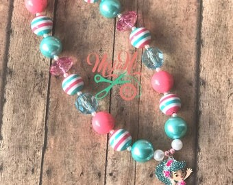 Jessicake - Shopkins - Shoppies - Necklace - Beads - Bubblegum Bead - Chunky Bead - Cupcake - Pink - Blue - White - Turquoise - Toggle Clasp