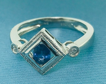 Petite Sapphire and Diamond Ring- 14K White Gold - 0.46 ctw Sapphires