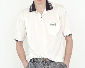 VINTAGE White Patterned Retro T-Shirt