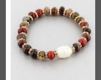 Colored Bead Stretch Bracelet