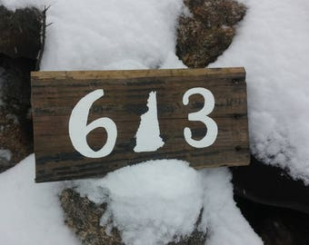 603 New Hampshire Rustic Hand painted Sign