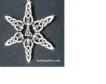 Claddagh Trinity Snowflake SnowWonders Ornament, Celtic Ornament,Irish ornament, Claddagh Trinity Ornament, Trinity Ornament