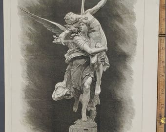 "Bronze Statue""Gloria Victis"" M. Antoine Mercier from the Late Paris Exhibition 1874. Glory to Vanquished Large Antique Engraving About 11x16"