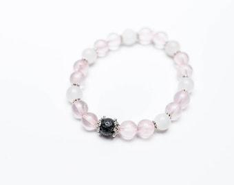 Love Infusion Rose Quartz White Jade Lava Bead Diffuser Bracelet Valentine's Day