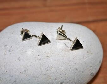 Sterling Silver Triangle Pierced Earrings