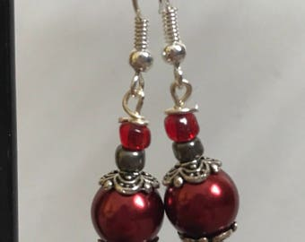 Red and Silver Beaded Drop Earrings, Red Silver Beaded Earrings, Red Silver Drop Earrings, Silver Red earrings, Red Silver Earrings