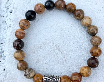 Petrified Wood and Sterling Silver Bracelet