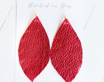 CHERRY  {SHOWSTOPPER COLLECTION} - Feather Leather Statement Earrings