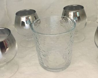 Vitreon Queen's Lusterware Silver Ombre Fade Set of 4 stemmed Brandy Snifters' or Juice Glasses