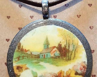 Vintage Church Christian Inspirational Necklace - FREE SHIPPING