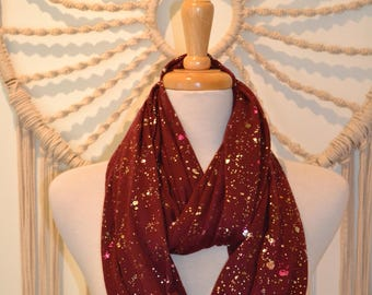 Girls Night Out Sparkly Infinity Fashion Scarf, Sparkly Scarf, Gold Sparkly Scarf, Women's Fashion Scarf, Hand Painted Scarf, Fashion
