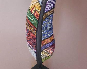Painted Feather Wood Sculpture / Technicolor Wooden Statue / Desktop Decor/ Hand Painted Illuminated Wooden Feather / Office Desktop Decor