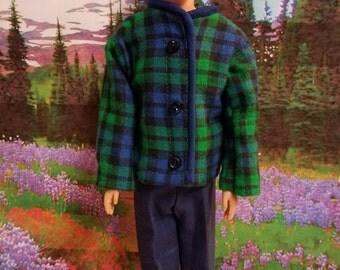 Ken outfit, handmade, barbie clothes, blue flannel shirt, blue cotton pants, navy, Ken,  clothes