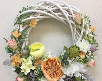 Wreath at the door of flowers/Floral Wreaths | Wreaths | Front Door Wreaths | Outdoor Wreaths | Summer Wreath | Rose/Ranunculus / Hydrangea