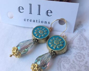 Teal/Aqua Dangle Earring - Paper Mache & Glass beads with gold.