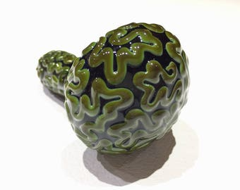 Brain pipe, glass smoking pipe, squiggle pipe, green pipe