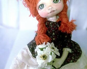 Cute interior doll,  Interior decor doll, Ooak Textile doll, cute cloth doll, textile girl doll, art interior doll, Ooak interior doll.