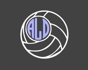 3in. Volleyball & Monogram Vinyl Decal