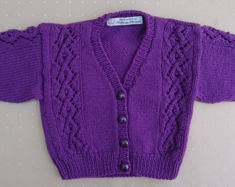 Hand-Knitted Purple Girl's Cardigan, 12-18 Months, in Sirdar Snuggly.