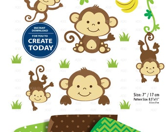 Monkey Clip art, Boy Monkey print, Safari kids clip art, Baby Monkey art, png. Nursery decor, Baby Shower,birthday,neutral, commercial use