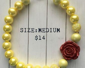 Belle's Rose Bubblegum Necklace, bubblegum beads, princess, little girl jewelry, gift, belle