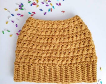 Messy Bun Beanie - Crochet Messy Bun Beanie- Womens Beanie Hat-Mustard Color Hat-Top Knot Hat - Pony Tail Hat.