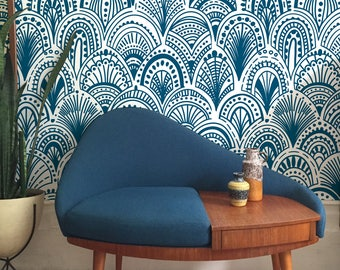 Blue Bohemian Removable Wallpaper - Abstract Wallpaper - Blue Wall Mural - Modern - Peel and stick - Wall covering - Wall Decal #130
