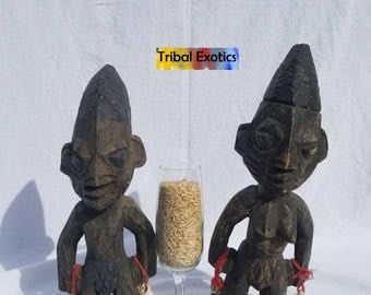TRIBAL EXOTICS : PREMIUM Authentic fine tribal African Art - Yoruba Yorouba Ibeji Twins Wood Figure Sculpture Statue Mask