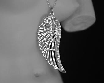 Greek Collection: Wing Necklace, Sterling Silver Pendant with Zircon Gems