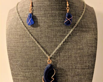 Blue sea glass necklace and earrings set