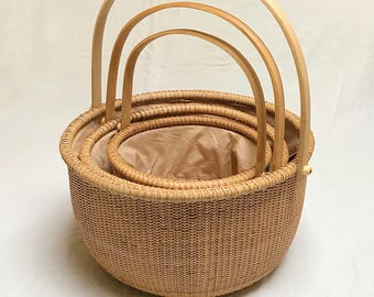 Linen Woven Sewing Wicker Rattan Basket with Handle | Picnic Basket | Set of 3 | Small and Medium Basket with Drawstring