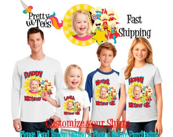 SUPERHERO with your child's PICTURE Birthday Girl Theme Family WHITE Shirts For the Entire Family Mom Dad Brother and More T-shirt supergirl
