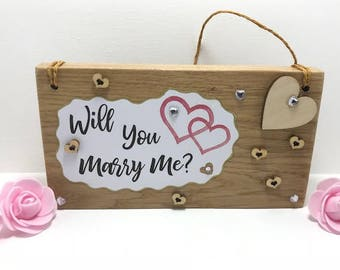 Marriage Proposal Oak Sign, Proposal Block, Valentines Marriage Proposal, Personalised Marriage Proposal Oak Sign, Will You Marry Me Sign