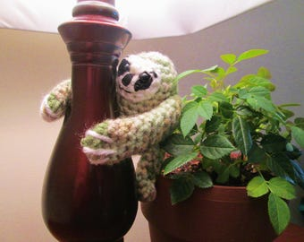 Green Handmade Crocheted Tiny Baby Sloth (Child's Stuffed Toy)