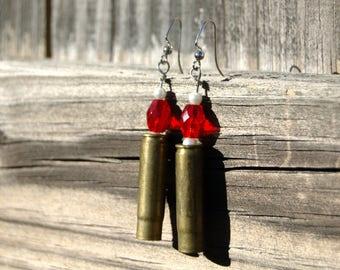 Christmas 300 blackout ammo bullet casing shell dangle earrings Red bead white bead