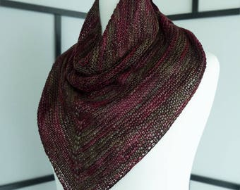 Hand-knit wine red triangular shawl for Dark Autumns