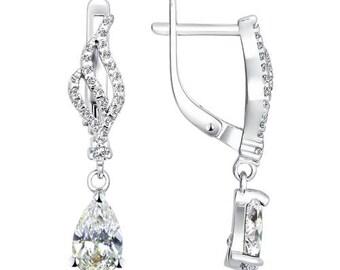 925 Silver Earrings with Cubic Zirconia CZ Jewelry For Women