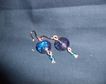 Handmade blue glass bead earrings