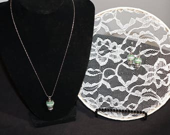 Green Pandora style charms Necklace and Earring Set