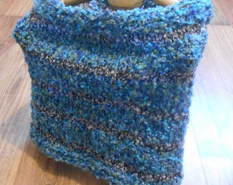 SALE Striped Grey Blue Fuzzy Cowl Wool