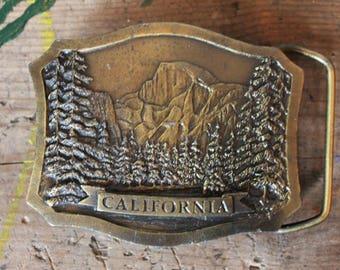 c. 1978 California Brass Belt Buckle INDIANA Metal Craft
