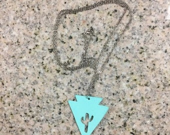 Turquoise Arrowhead Necklace With Cactus