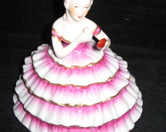 New LIMOGES FRANCE Powder Box Half Doll
