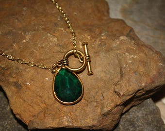 Emerald Green Necklace Gold Plated Large Pendant - Shiny Gold Chain - Wedding Jewelry - Bridesmaid Jewelry - Valentines Day Gift