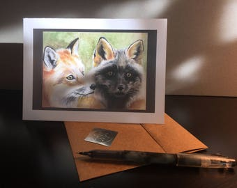 Watercolor Foxes Card